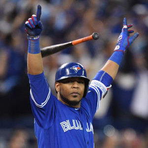 Toronto Blue Jays' Edwin Encarnacion celebrates after hitting a walk-off three-run home run against the Baltimore Orioles during the 11th inning of an American League wild-card baseball game in Toronto, Tuesday, Oct. 4, 2016. (Frank Gunn/The Canadian Press via AP)