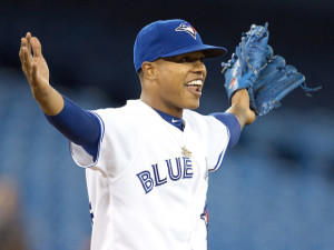Toronto Blue Jays starting pitcher Marcus Stroman celebrates after his 8-0 complete game against the Chicago Cubs in Toronto on Monday, September 8, 2014. THE CANADIAN PRESS/Frank Gunn